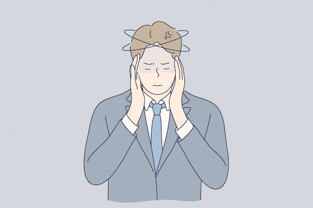 Mental stress, business, ache, depression, frustration, thinking concept Premium Vector