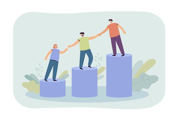 若い従業員が成長する棒グラフの上に登るのを助けるメンター。手をつないで二階を一緒に歩くチーム 無料ベクター
