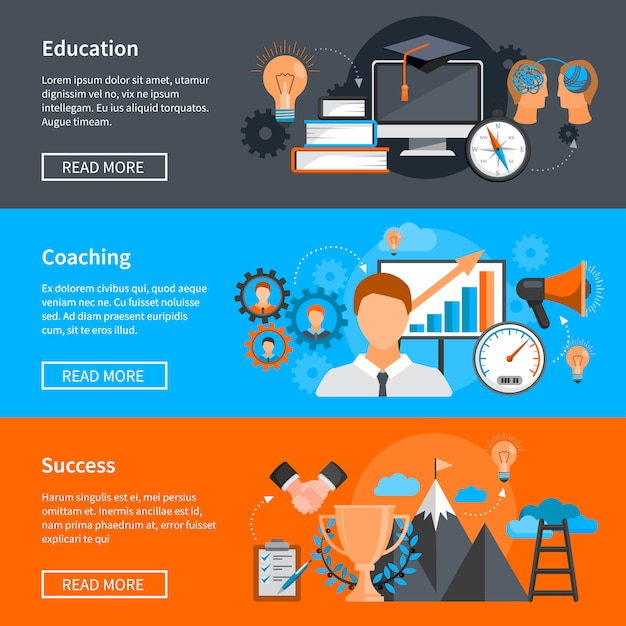 Mentoring coaching banners with concepts for skills development Free Vector