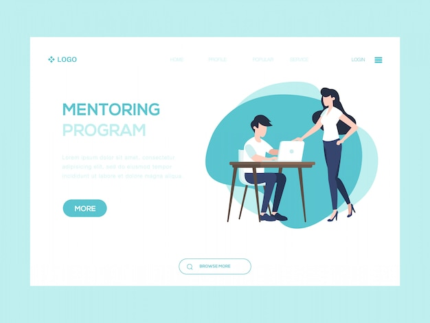 Mentoring program web illustration Premium Vector