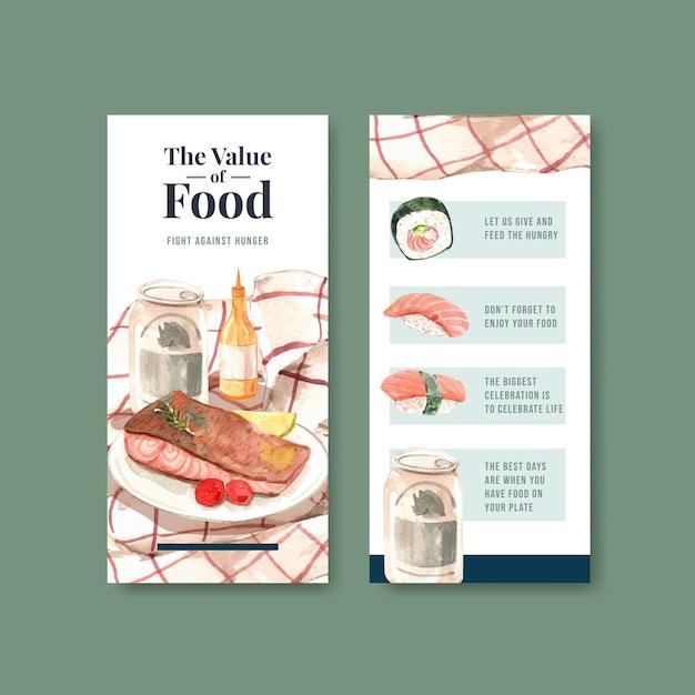 Меню и флаер с концептуальным дизайном всемирного дня еды для ресторана и буклетом акварель Бесплатные векторы