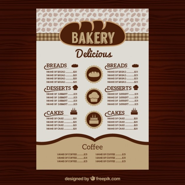 Menu bakery template Vector | Free Download