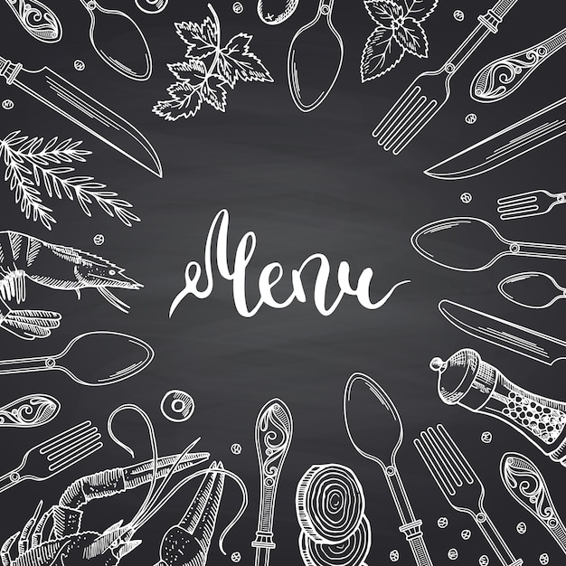 Menu on black chalkboard  with hand drawn tableware and food elements Premium Vector