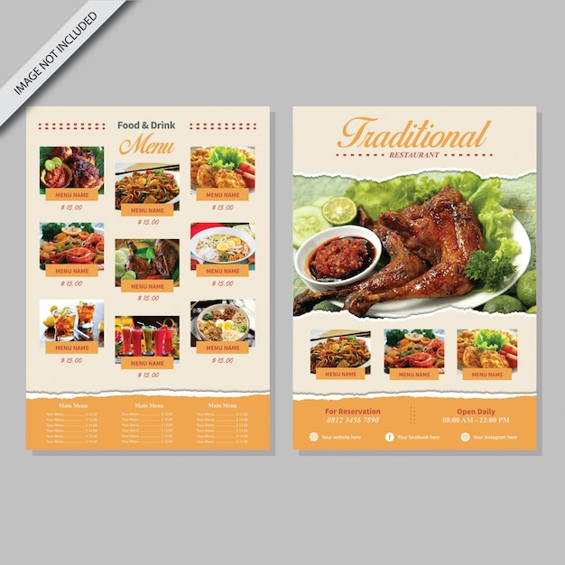 Menu book design vector premium download