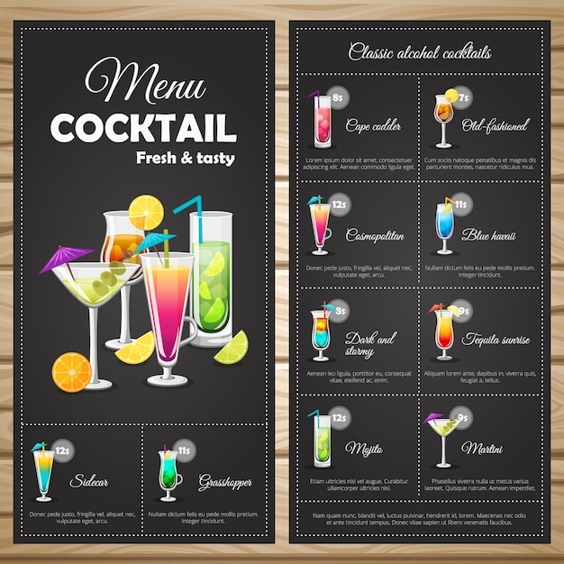 Menu classic alcohol cocktails Free Vector