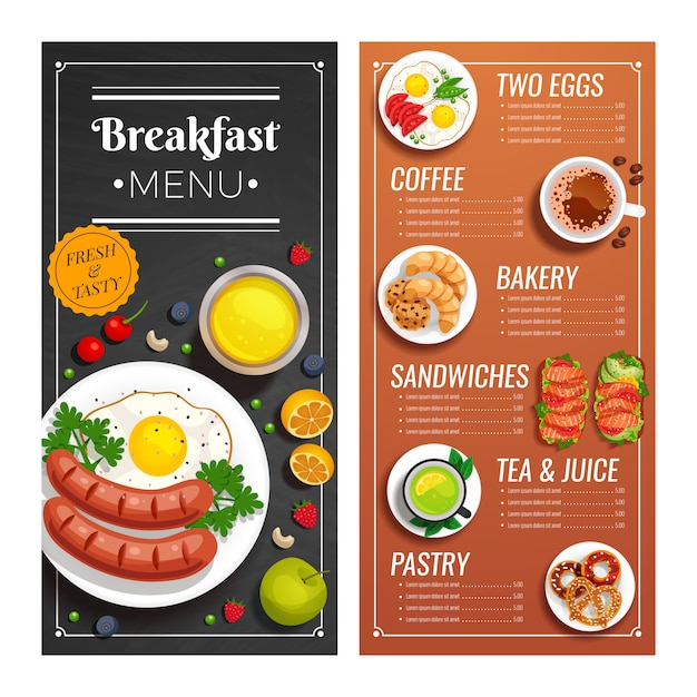 Menu design for cafe and restaurant Free Vector
