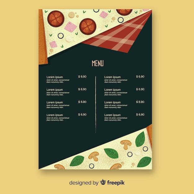 Menu design for pizza restaurant Free Vector