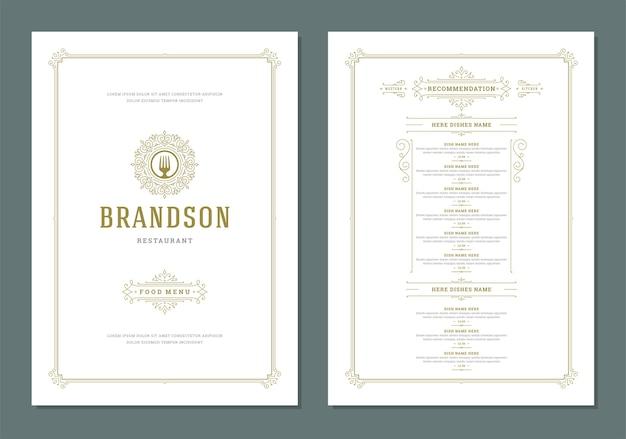 カバーとレストランのヴィンテージロゴパンフレット付きメニューデザインテンプレート Premiumベクター