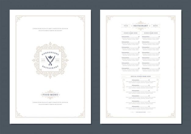 カバーとレストランのビンテージロゴベクトルパンフレットメニューデザインテンプレート。 Premiumベクター