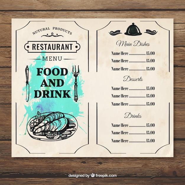 Menu food and drink template