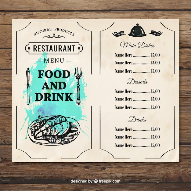 Menu food and drink template Free Vector