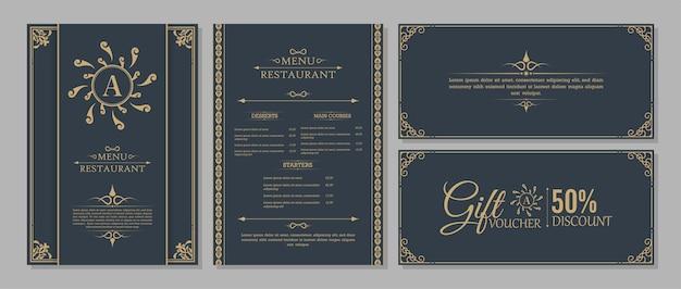 Menu layout with ornamental elements. Premium Vector