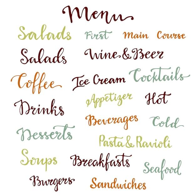 Набор букв меню. десерты, закуски, напитки, завтраки, коктейли и другие коллекции слов. векторная каллиграфия Premium векторы