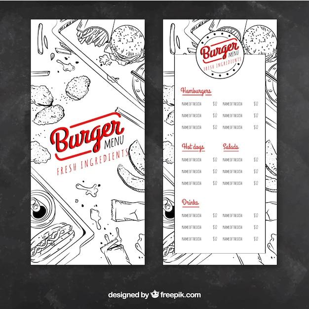 Menu of hamburgers with drawings