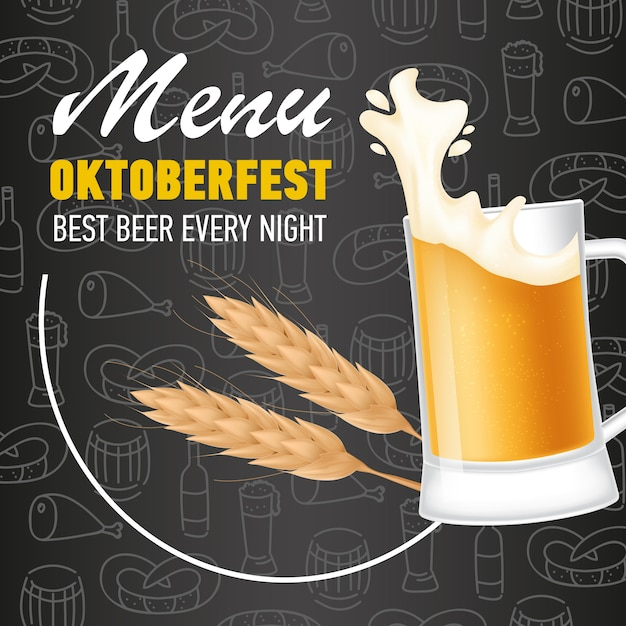 Menu, oktoberfest lettering and mug of beer with foam Free Vector
