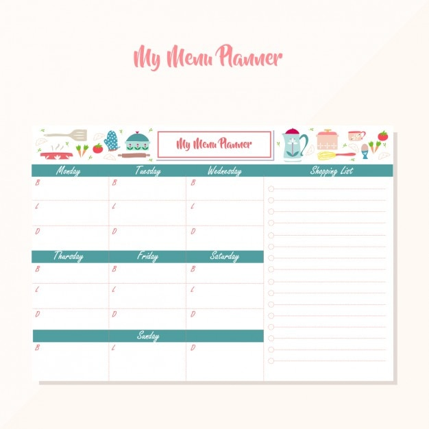 Menu planner design Free Vector