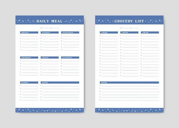 Menu planner and shopping grocery list with checklist templates Premium Vector