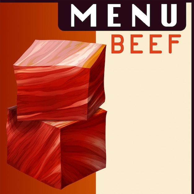 Menu poster with beef in dices Free Vector