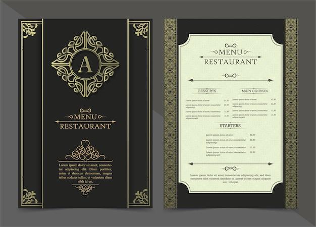 メニューレストラン高級ギフト券デザインテンプレート Premiumベクター