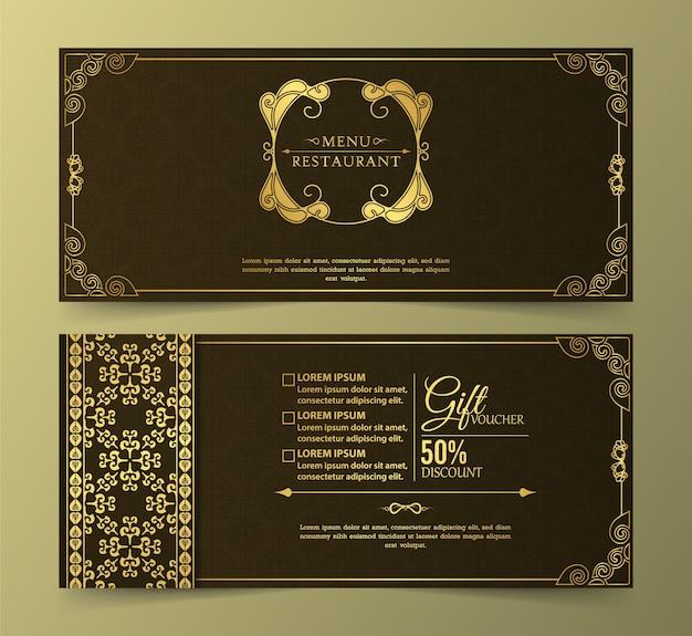 Menu restaurant luxury gift voucher design template Premium Vector
