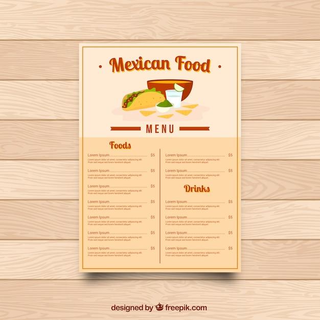 Menu restaurant, mexican food