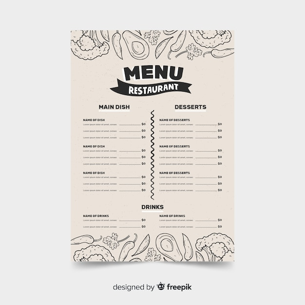 Menu restaurant template on retro style with food sketches Free Vector