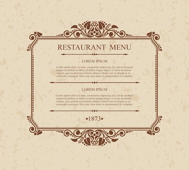 メニューレストラン活版印刷のデザイン要素、書道の優雅なテンプレート、 Premiumベクター
