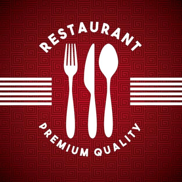 Меню ресторана с набором столовых приборов Premium векторы
