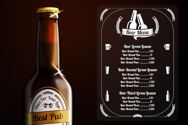 Menu template for beer and alcohol Premium Vector