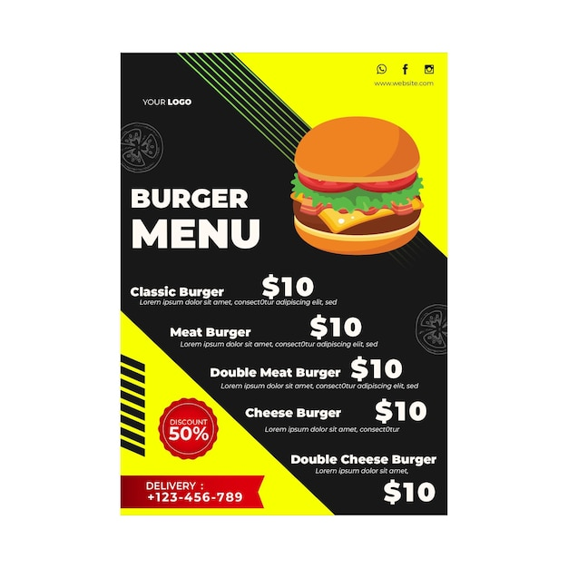 Menu template for burger restaurant Free Vector