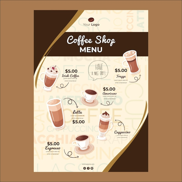Menu template for coffee shop Free Vector