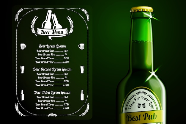Шаблон меню для пива и алкоголя с местом для логотипа вашего паба, ресторана, кафе и т. д. с реалистичной зеленой пивной бутылкой на зеленом фоне. Premium векторы