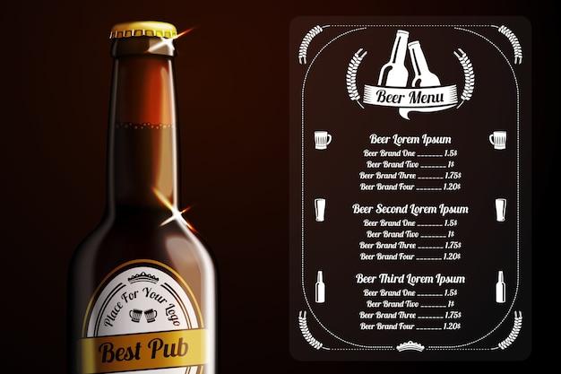 Шаблон меню для пива и алкоголя Premium векторы