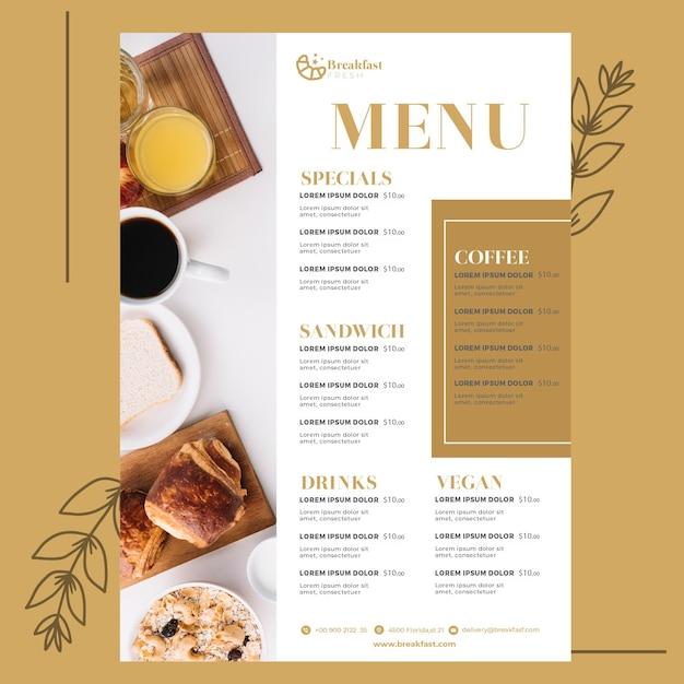 Шаблон меню для завтрака ресторана Бесплатные векторы