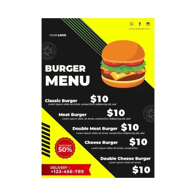 Шаблон меню для бургерного ресторана Бесплатные векторы
