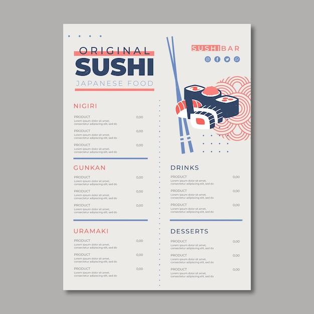 Шаблон меню для суши-ресторана Premium векторы