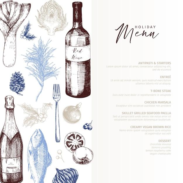 Menu template. hand drawn detailed christmas food and drinks. modern trendy menu Premium Vector