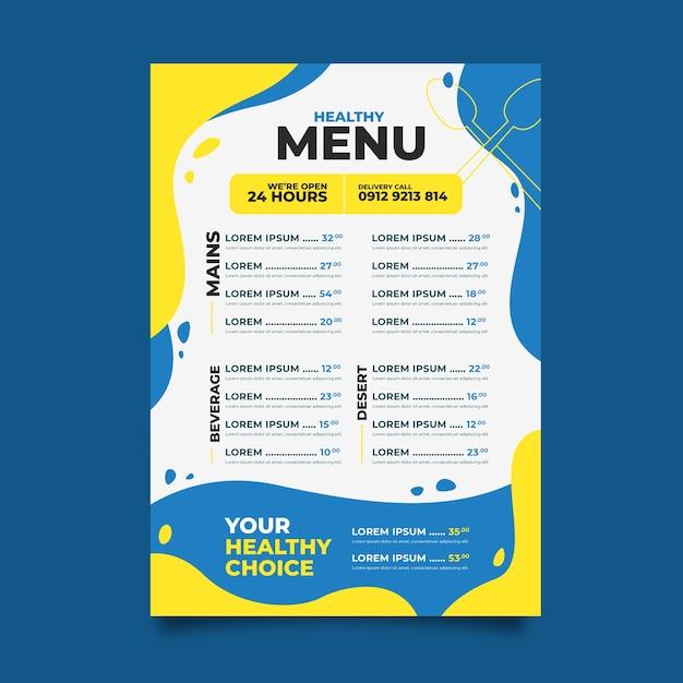 メニューテンプレート健康食品レストラン Premiumベクター