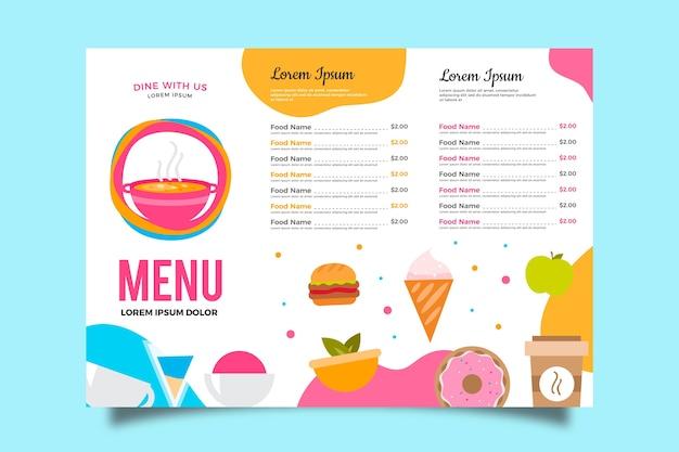 Шаблон меню в красочном дизайне Бесплатные векторы