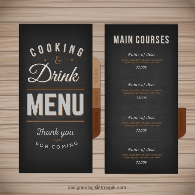 Menu Template In Retro Style Vector  Free Download