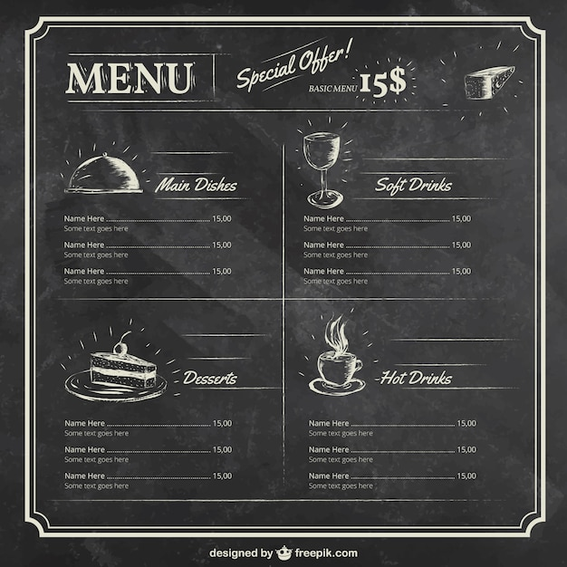 Menu Template On Blackboard Free Vector  Free Downloadable Restaurant Menu Templates