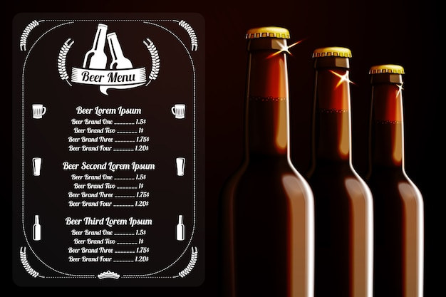 Шаблон меню или баннер для пива и алкоголя с местом для логотипа вашего паба, ресторана, кафе и т. д. с реалистичными тремя коричневыми пивными бутылками на темном фоне. Premium векторы