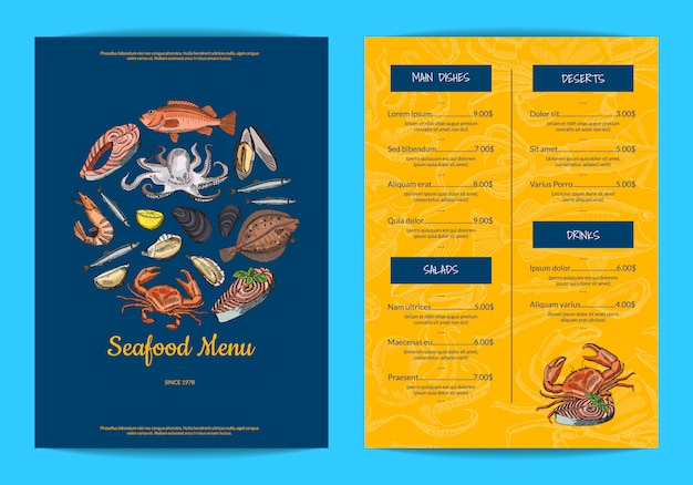 Menu template for restaurant, shop or cafe with hand drawn seafood elements Premium Vector