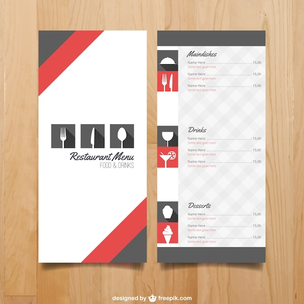 Menu template for restaurant Free Vector