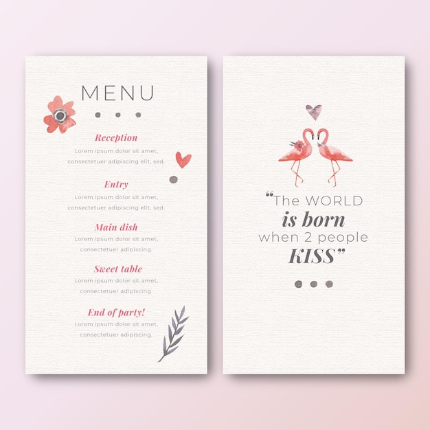 Menu template for wedding with flamingos Free Vector