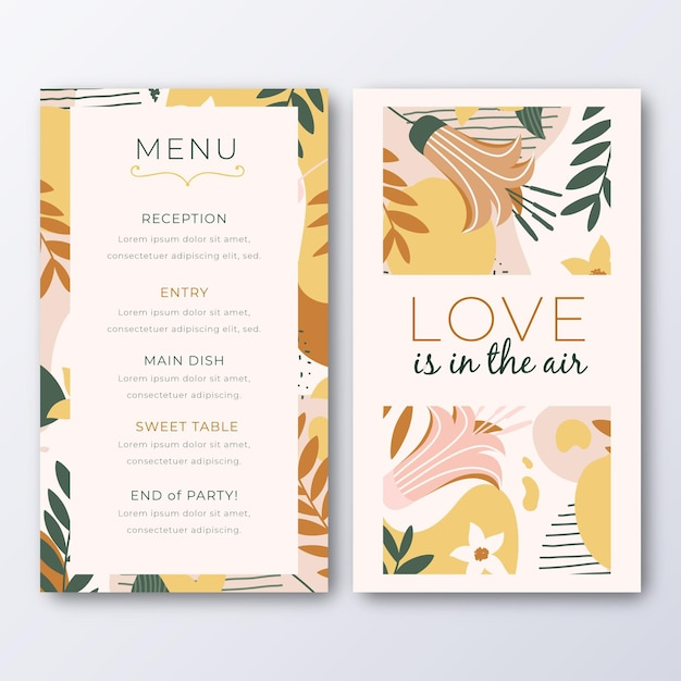 Menu template for wedding with leaves Premium Vector