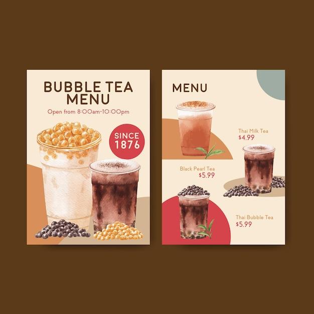 Шаблон меню с концепцией пузырькового чая с молоком Бесплатные векторы