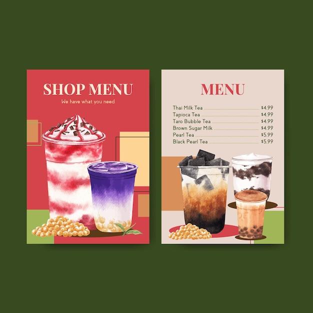 Шаблон меню с пузырьковым чаем с молоком Бесплатные векторы