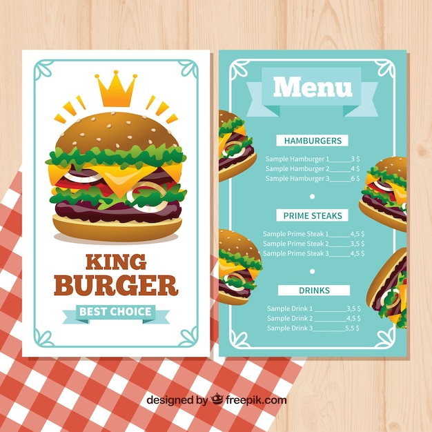 Menu Template With Delicious Burgers Vector  Free Download