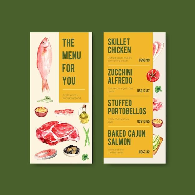 レストランや食品店の水彩イラストのケトン食療法の概念を持つメニューテンプレート。 無料ベクター